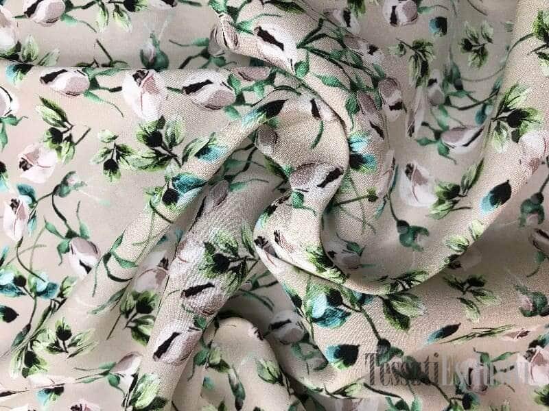 Шелк-креп в цветочек бежевый