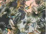 Шелк-креп тигры и птицы розово-серый