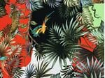 Шелк-креп тигры и птицы красно-черная