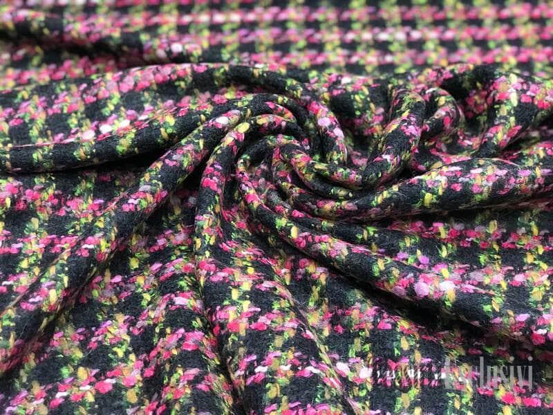 Твид в стиле Шанель черный с розовым вплетением