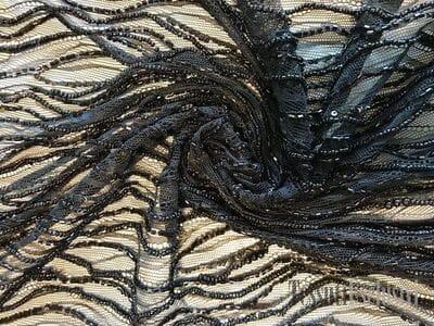 Кружево черное с бисером и пайетками
