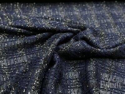 Твид в стиле Шанель синий с люрексом