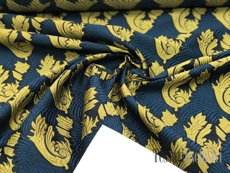 Жаккард нави (синий) с золотом