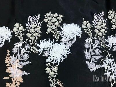 Жаккард  в стиле Gucci черный с принтом и вышивкой