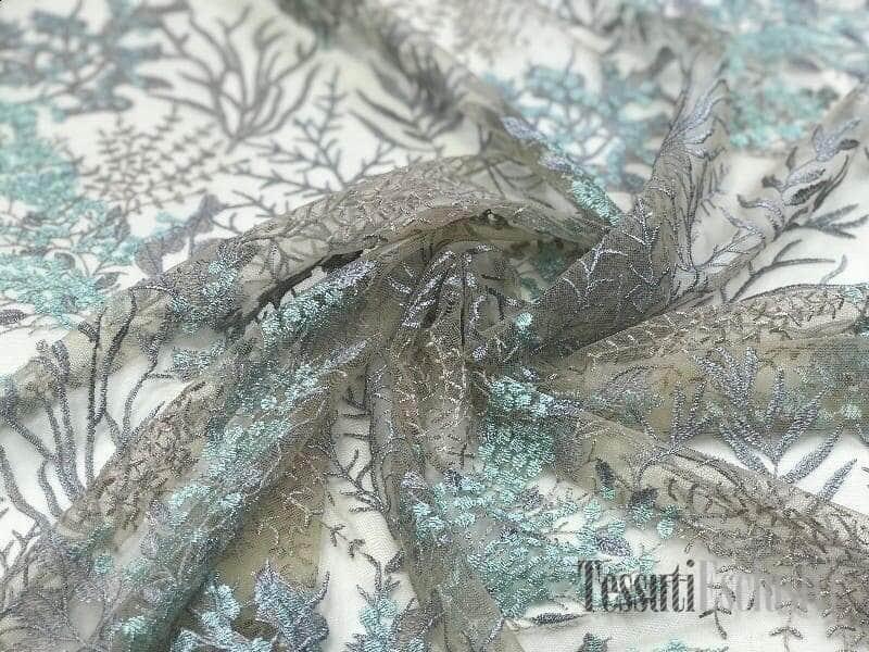 Сетка телесная с вышивкой веточки