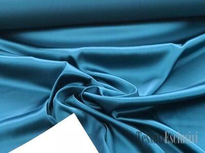 Шелк однотонный атласный в цвете морская волна