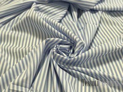 Хлопок сорочечный в бело-голубую полоску в стиле DG