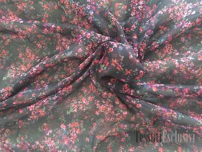 Шелк - шифон черный с мелкими цветочками