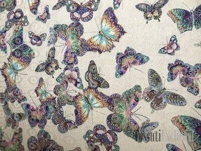 Жаккард молочный с бабочками