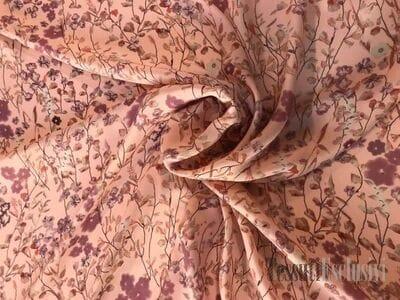 Шелк розовый с цветами
