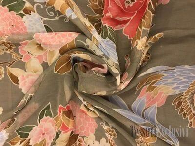 Шелк-шифон птицы бежевый