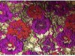 Жаккард (цветы фуксия и красные с золотом)
