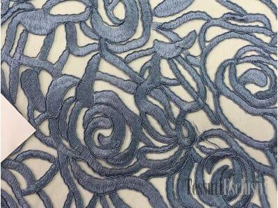 Сетка серо-голубая  с вышивкой