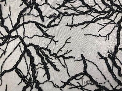 Сетка  с вышивкой черная