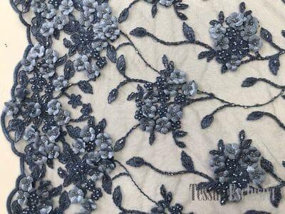 Сетка  3D голубая с вышивкой жемчугом и цветами