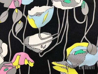 Шелк черный с цветами