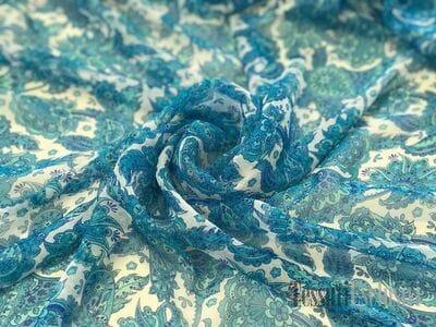 Шёлк-шифон пейсли голубой