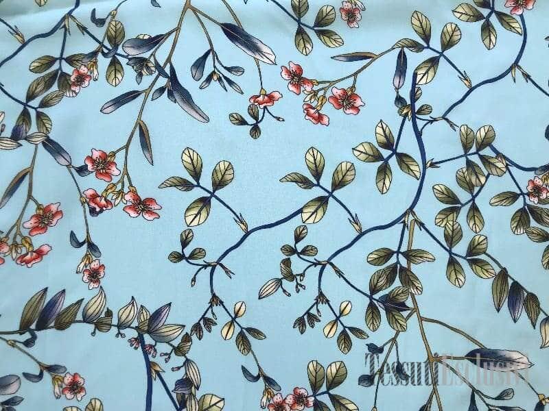 Шелк бирюзовый с веточками и мелкими цветами