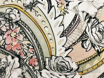 Шёлк нежный пейсли с розами