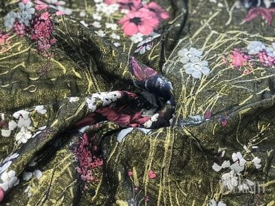 Жаккард хаки (цветы розовые и белые с золотом)