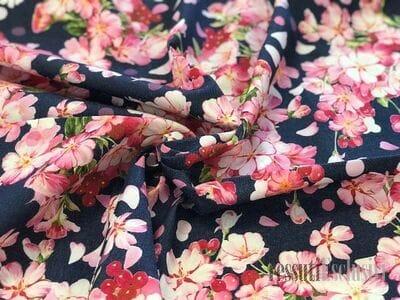 хлопок джинса с цветами