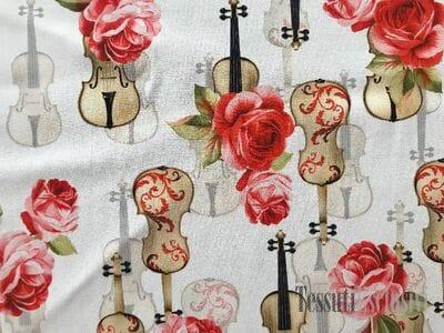 Шелк в стиле дольче габбана скрипки и розы